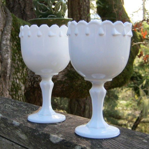 Pair of Small Teardrop Compotes in Milk Glass