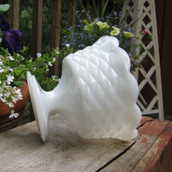 Milk Glass Compote in Diamond Pattern