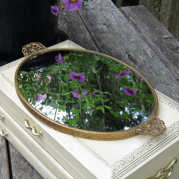 Oval vanity mirror tray with fancy filigree handles for Fancy vanity mirror