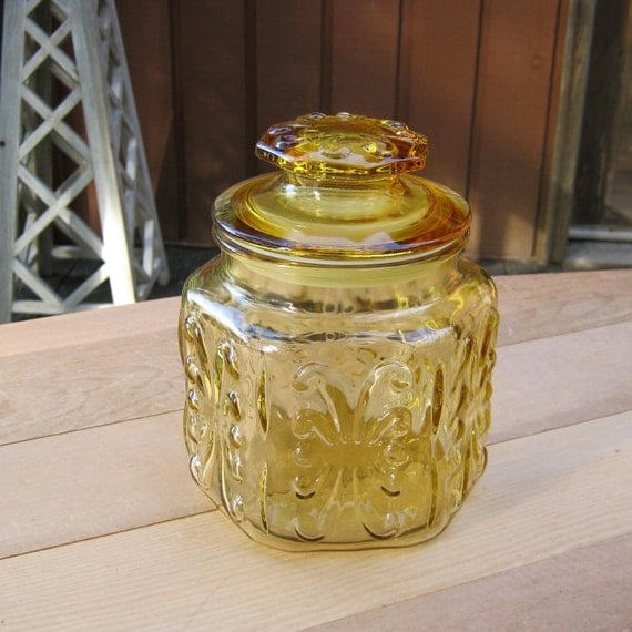 Scrolled Amber Canister - Apothecary Jar
