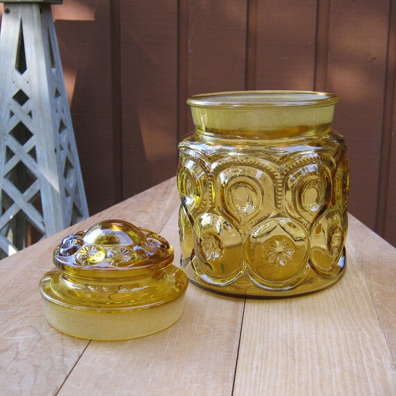 1960's LE Smith Amber Canister in Moon and Stars Pattern