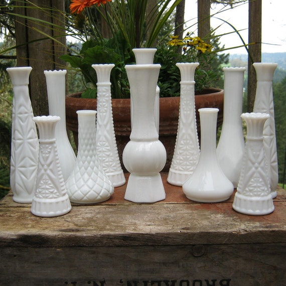 12 Milk Glass Bud Vases - Lot 2