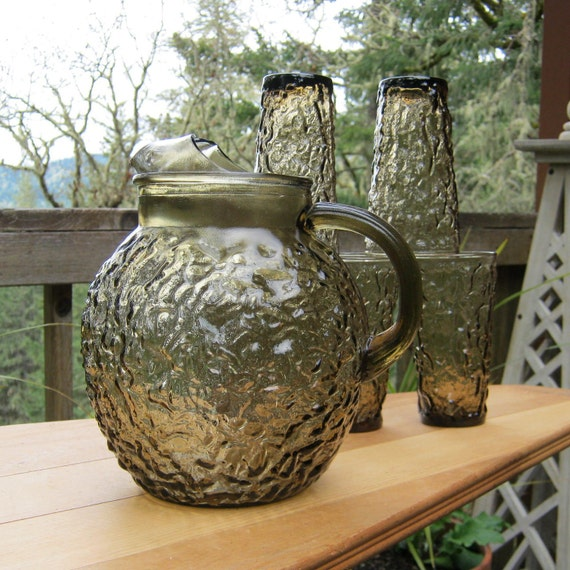 SALE - Lido Brown Glass Ball Pitcher and 5 Tumblers by Anchor Hocking