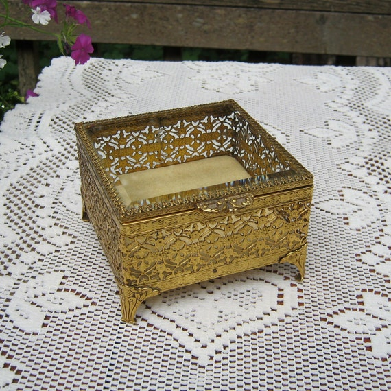 Square Filigree Jewelry Box With Beveled Glass Lid