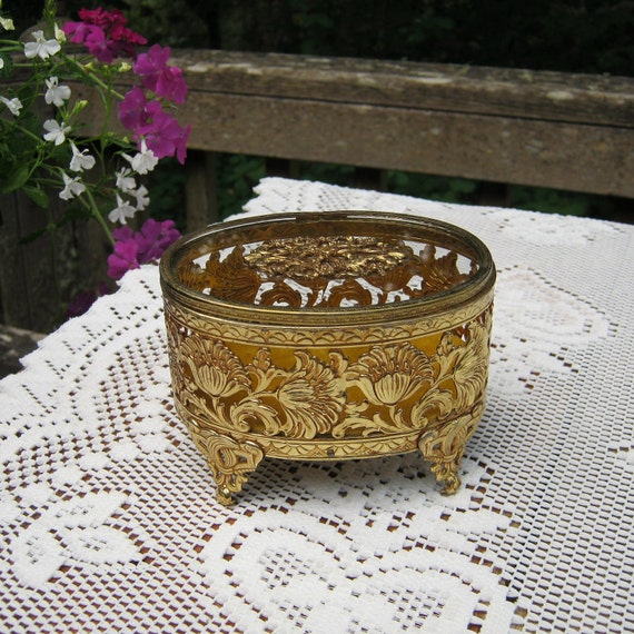 Oval Filigree Jewelry Box With Glass Lid