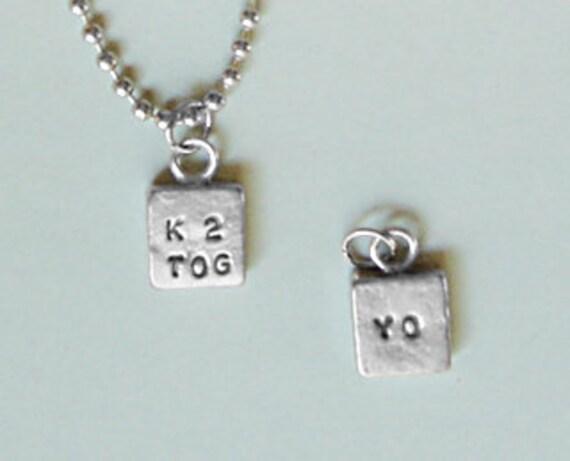 K2TOG YO Knit 2 Together Yarn Over Pewter Necklace knitpurletc