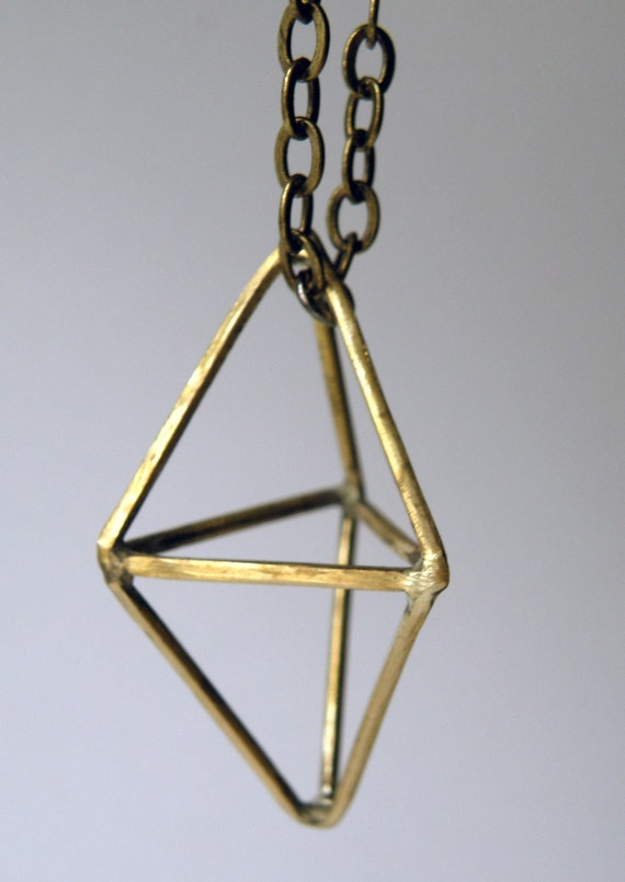 Double Pyramid Geometric Necklace