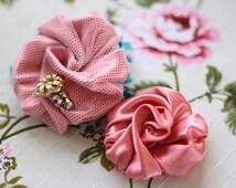 Fabric Flower Pattern, Rosey Pirouette, Fabric Flower Tutorial, How to Make Fabric Flowers, Headband Tutorial, Hair Clip, Flower Girl Gift