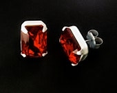 Vintage Ruby Red and White Earrings