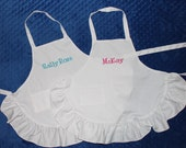 Personalized Child's White Ruffled Apron Embroidered with Childs Name