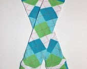 Baby Leg Warmers / Arm Warmers in Blue Green White Argyle READY TO SHIP