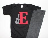 Baby Boy Initial and Guitar Bodysuit with Matching Solid Gray Baby Leg Warmers Long or Short Sleeve