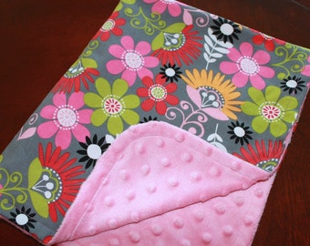 Personalized Baby Girl Cotton and Minky Blanket with Flowers - Pink, Gray, Orange, Green and Red