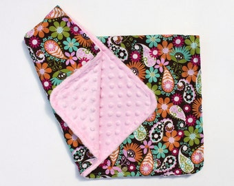 Baby Girl Pink Minky Stroller Blanket with Paisley Flowers