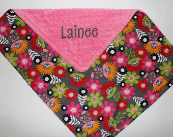 PERSONALIZED Baby Girl Minky Stroller Blanket with Name - Flowers - Pink, Gray, Green, Orange, Red