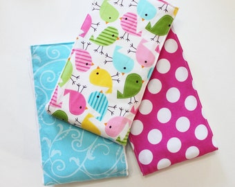 3 Premium Boutique 6 PLY Burp Cloth Set - Spring Birds, Polka Dots and Damask
