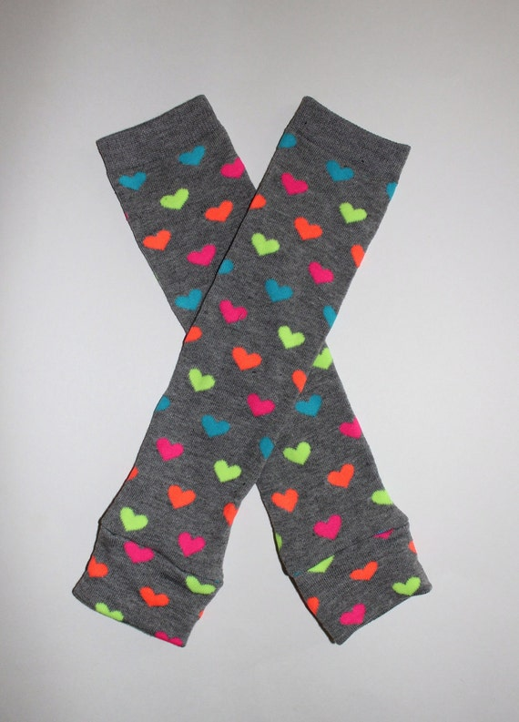 Baby Leg Warmers / Arm Warmers in Grey with Neon Hearts READY TO SHIP - 4595