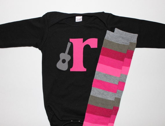 Baby Girl Initial and Guitar Bodysuit with Matching Pink and Gray Striped Leg Warmers Long or Short Sleeve