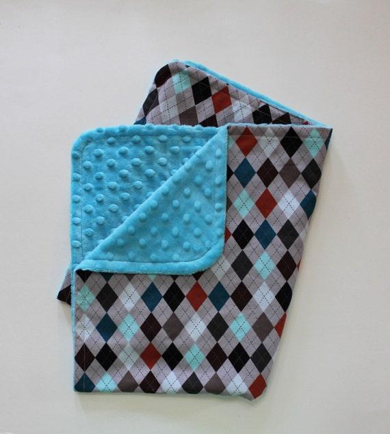 Baby Boy Argyle Stroller Blanket - Turquoise Dot Minky