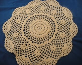 "Crocheted Doily Cream Color 11"" Handmade"