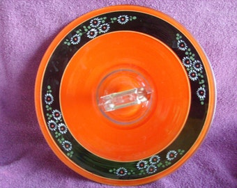 Painted Glass Platter With Handle Orange and Black With Flowers