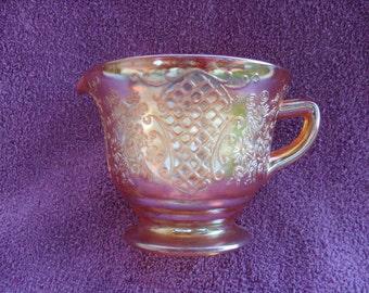 Normandie Pattern Depression Glass Creamer Iridescent Marigold