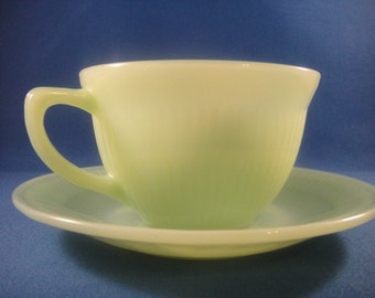 Jadite Jane Ray Pattern Cup and Saucer
