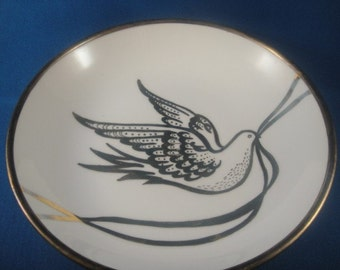 Porcelain and Brass Bowl with Painted Dove Japanese