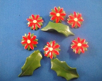 Ceramic Red Flowers and Green Leaves