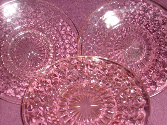 Pink Glass Holiday Pattern Sherbet Plates