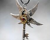 Six Wing Heart Key Necklace
