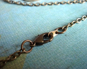 1pc - ONE Finished Chain with a Lobster Clasp - Antiqued Brass Metal Round Cable Chain - 19 inches