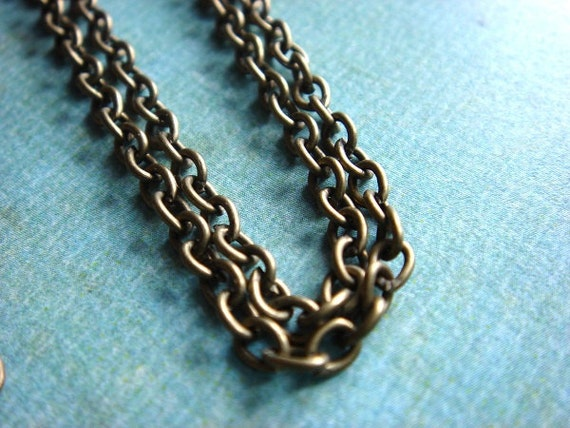 5pcs - FIVE Finished Chains with a Lobster Clasp - Antiqued Brass Metal Round Cable Chain - 24 inches