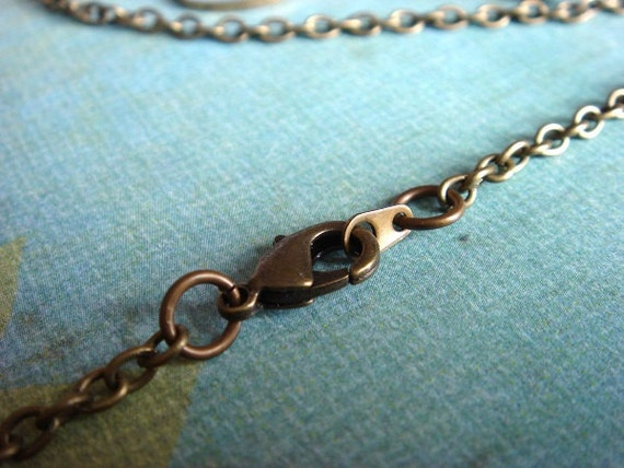 1pc - ONE Finished Chain with a Lobster Clasp - Antiqued Brass Metal Round Cable Chain - 18 inches