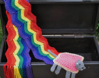 Nyan Cat Scarf, Pop-Tart / Poptart Cat, Crocheted w/ High Quality Yarn, Best Seller, Made to Order