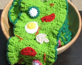 Crocheted Salad Scarf, Perfect for Foodies, Vegans, Conversation Starter, Unique, Made to Order