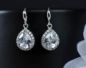Bridal Earrings, Bridesmaid Earrings Sterling Silver  Earwires and Cubic Zirconia Crystal Tear Drops