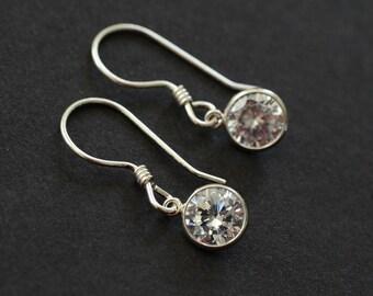 Bezel Earrings, Round Cubic Zirconia and Sterling Silver Dangle Earrings