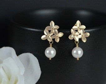 Bridal  Earrings,  Gold Cherry Blossom Earrings with White Swarovski 8 mm Pearl .925 Sterling Silver Earring Post. Wedding Jewellery