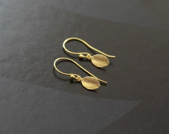 Tiny Leaf Gold Plated Earrings