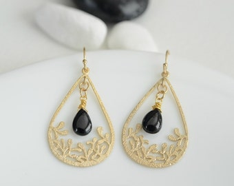 Gold Plated Earrings, Gold Plated  Drop Pendant and Smooth Black Spinel Briolette