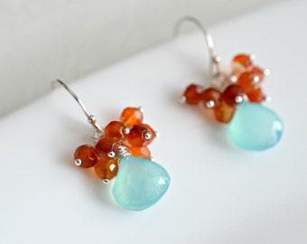 Cluster Earrings - Handmade Aqua Blue Chalcedony and Carnelian Cluster Earrings in Sterling Silver