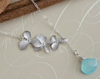 Trio Orchid and Aqua Blue Chalcedony Lariat Necklace, Bridal Wedding Jewelry, Birthday, Bridesmaid Gifts, Orchid Jewelry