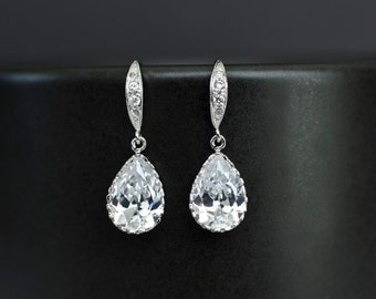 Bridal Earrings, Bridesmaid Earrings Cubic Zirconia Earwires and Cubic Zirconia Crystal Tear Drops