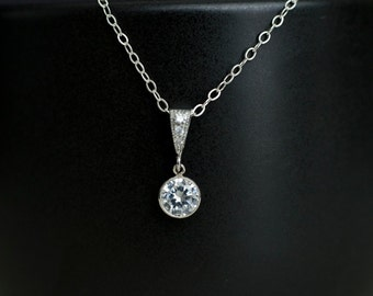 Bridal Necklace, Cubic Zirconia Bezel Pendant, Bridal, Bridesmaid Necklace, Wedding Necklace, Wedding Jewelry,Bridesmaid Gift