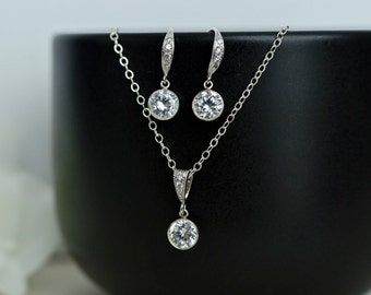 Bridal Earrings Bridal Necklace Clear White Cubic Zirconia, Round Sterling Silver CZ Bezel Bridal Jewelry Set
