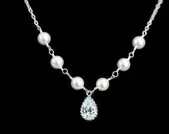 Wedding Jewelry - Bridal Necklace, Cubic Zirconia Teardrop Pendant and White Swarovski Pearls , Bridal, Bridesmaid Jewelry