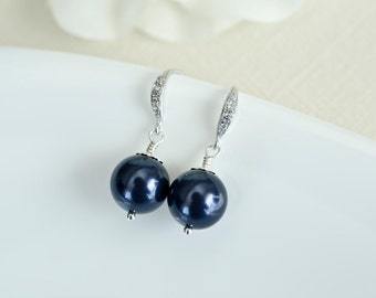 Bridesmaids Navy Blue Swarovski Pearl Earrings in Sterling Silver