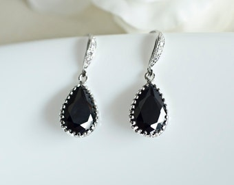 Bridesmaids Earrings, Black Cubic Zirconia Tear Drops on Cubic Zirconia Sterling Silver Earwires