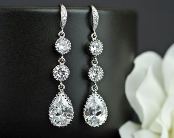 Bridal Earrings, Cubic Zirconia Ear Wires, Cubic Zirconia Connectors and Large Cubic Zirconia Crystal Tear Drops